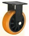 Колесные опоры большегрузные неповоротные, полиуретановое покрытие, полипропиленовый обод, платформенное крепление, шарикоподшипник (FCpu54 (29))