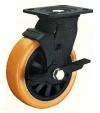 Колесные опоры большегрузные поворотные с тормозом, полиуретановое покрытие, полипропиленовый обод, платформенное крепление, шарикоподшипник (SCpub55 (29))