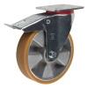 Колесные опоры большегрузные поворотные с тормозом, полиуретановое покрытие, алюминиевый обод, платформенное крепление, шарикоподшипник (LU/PA/200/K/ADS-N)