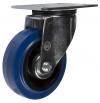 Колесная опора поворотная, обод - из пластика, шинка - эластичная синяя резина, платформенное крепление, роликоподшипник (SRCL97 (43))