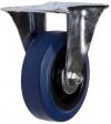 Колесная опора неповоротная, обод - из пластика, шинка - эластичная синяя резина, платформенное крепление, роликоподшипник (FRCL93 (43))